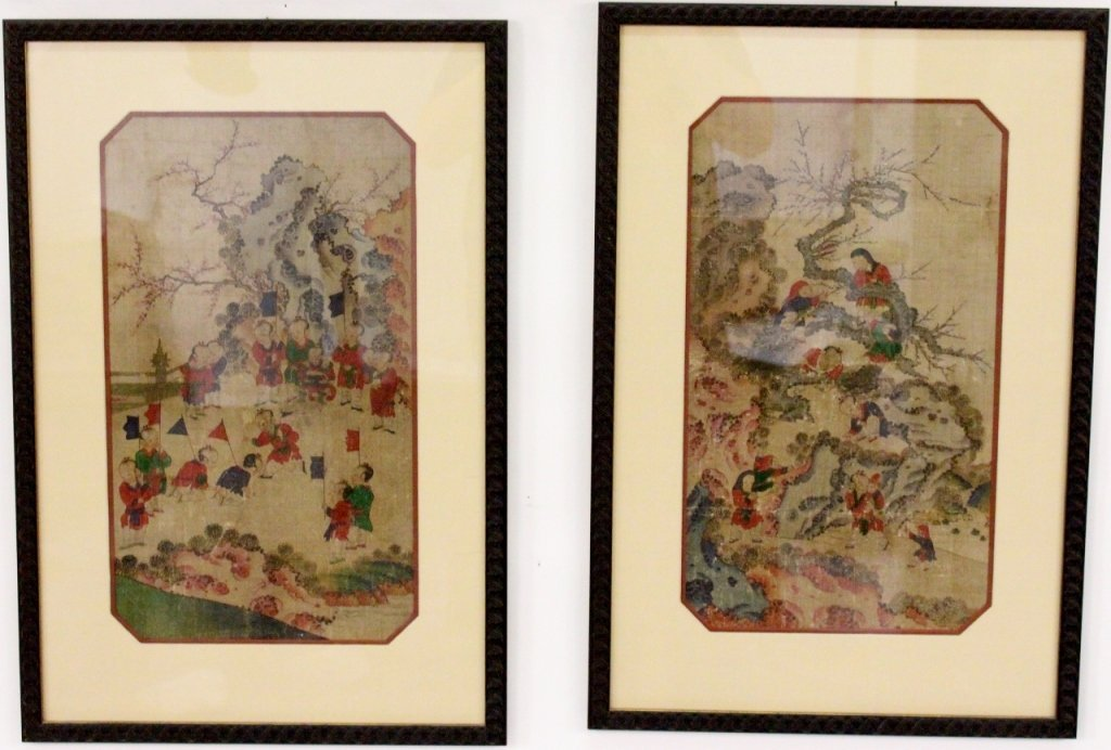 Two Chinese Hand Painted Figural Textile Panels