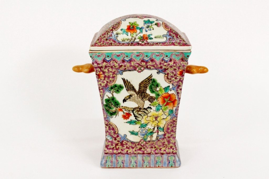 Chinese Lidded Porcelain Container w/Hawk Motif
