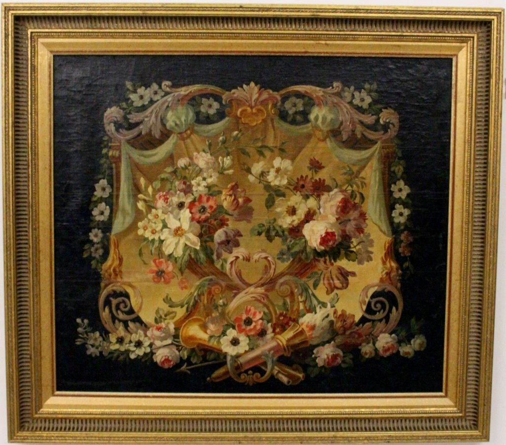 French Floral Medallion Oil on Canvas
