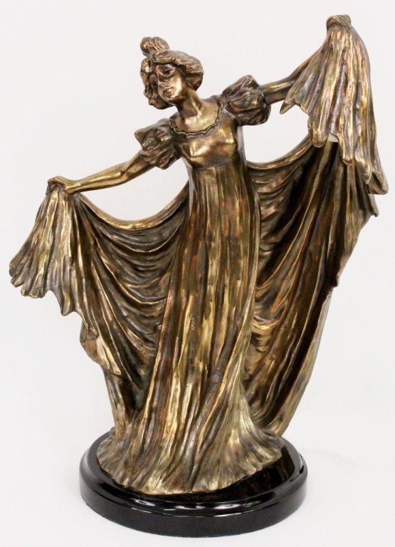 Art Nouveau Ernest Wante Style Bronze Lamp
