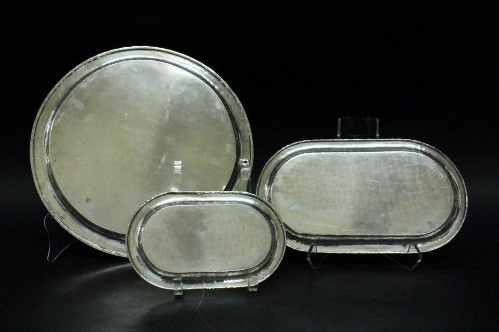 Group of 3 German 900 Silver Trays