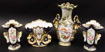Group of 4 Old Paris Style Porcelain Vases