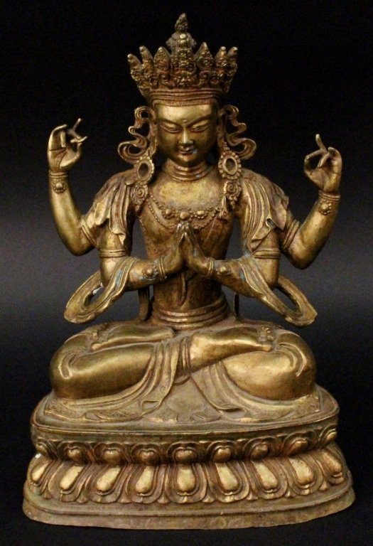 Gilt Bronze Figure of Bodhisattva Vishvapani