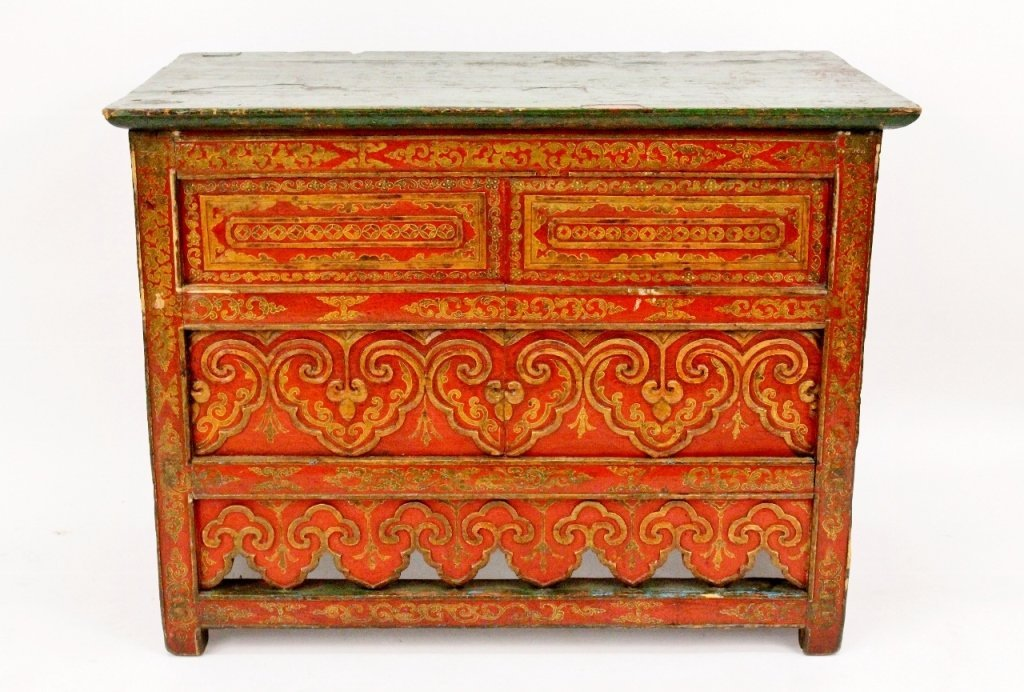 Tibetan Red Lacquered & Gilt Accented Altar Table
