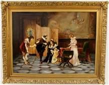 L. 19th C. Continental School Figural Oil, Signed
