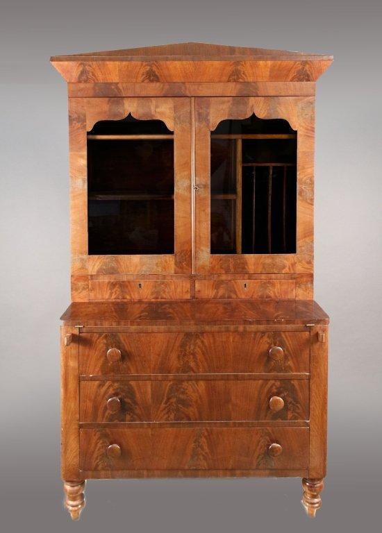 American Empire Mahogany Secretary Bookcase