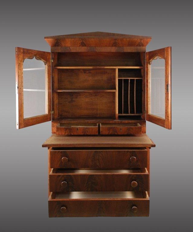 American Empire Mahogany Secretary Bookcase - 2