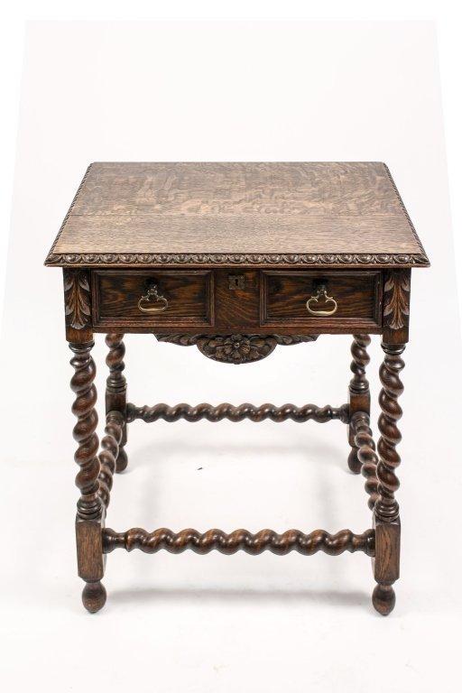 English 19th C. Oak Barley Twist Side Table