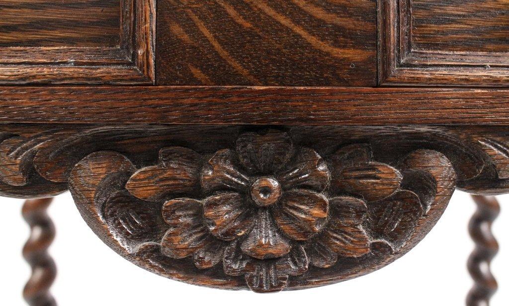English 19th C. Oak Barley Twist Side Table - 5