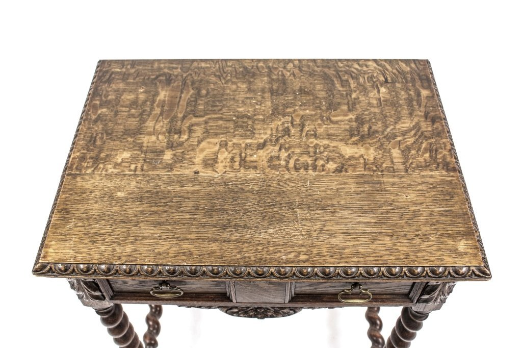 English 19th C. Oak Barley Twist Side Table - 8