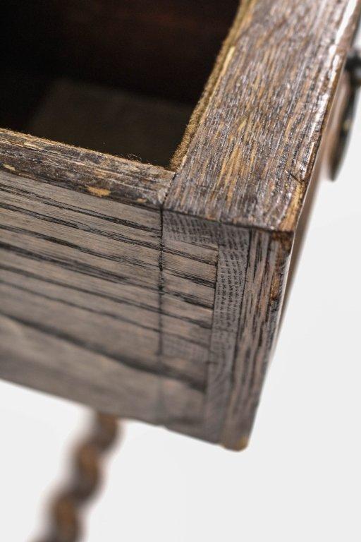 English 19th C. Oak Barley Twist Side Table - 9