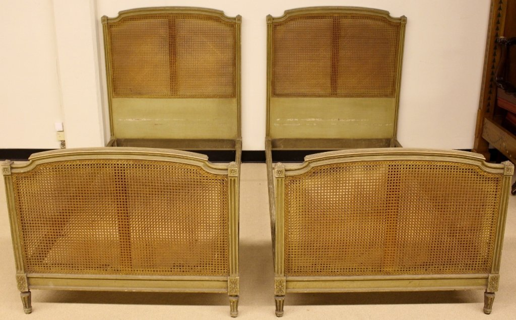 Pair of French Painted & Caned Twin Beds
