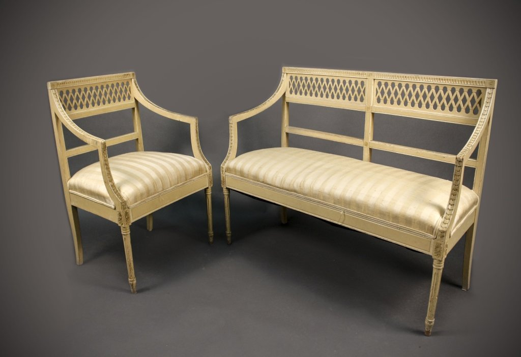 Louis XVI Style Cream Painted Chair & Settee
