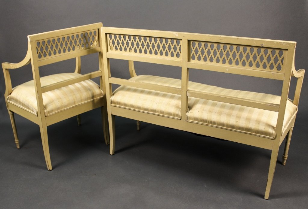 Louis XVI Style Cream Painted Chair & Settee - 3