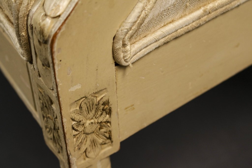 Louis XVI Style Cream Painted Chair & Settee - 6