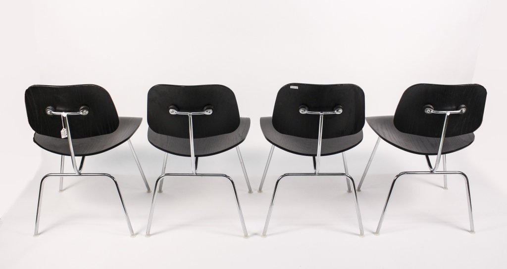 Set of 4 Black Eames for Herman Miller DCM Chairs - 2
