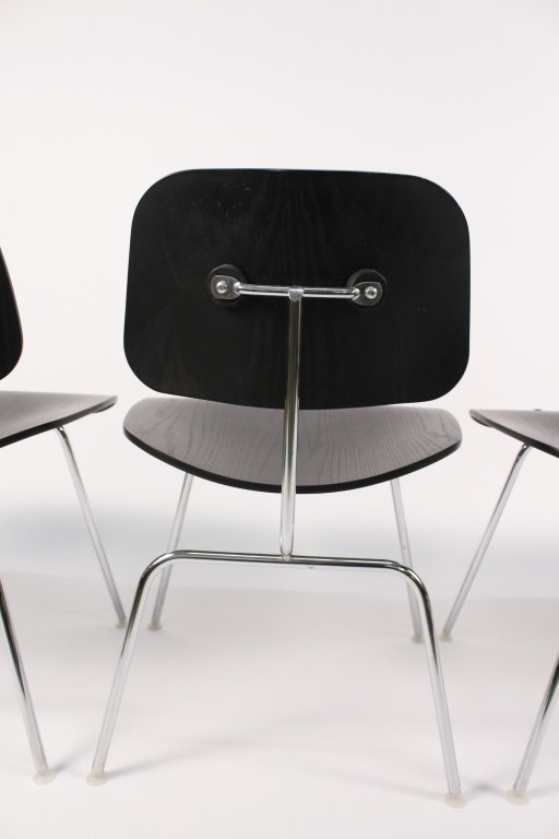 Set of 4 Black Eames for Herman Miller DCM Chairs - 3