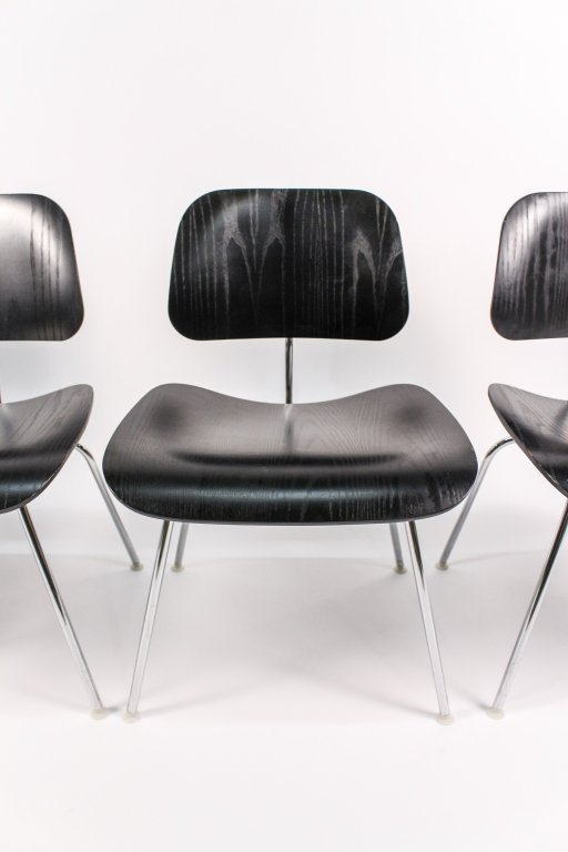 Set of 4 Black Eames for Herman Miller DCM Chairs - 4