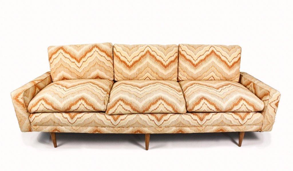Mid Century Modern Flame Upholstered Sofa
