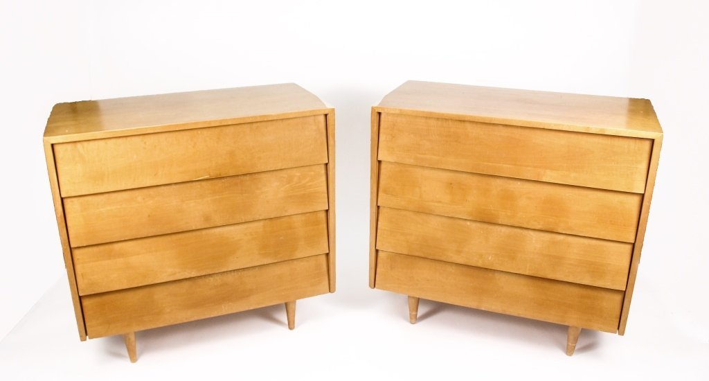 Pair of Knoll Louver Four Drawer Dressers