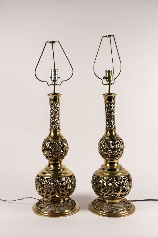 Pair of Brass Trench Art Lamps, Korean War