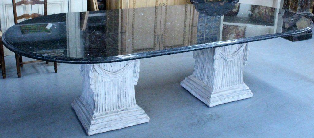 Black Granite Top Twin Pedestal Dining Table