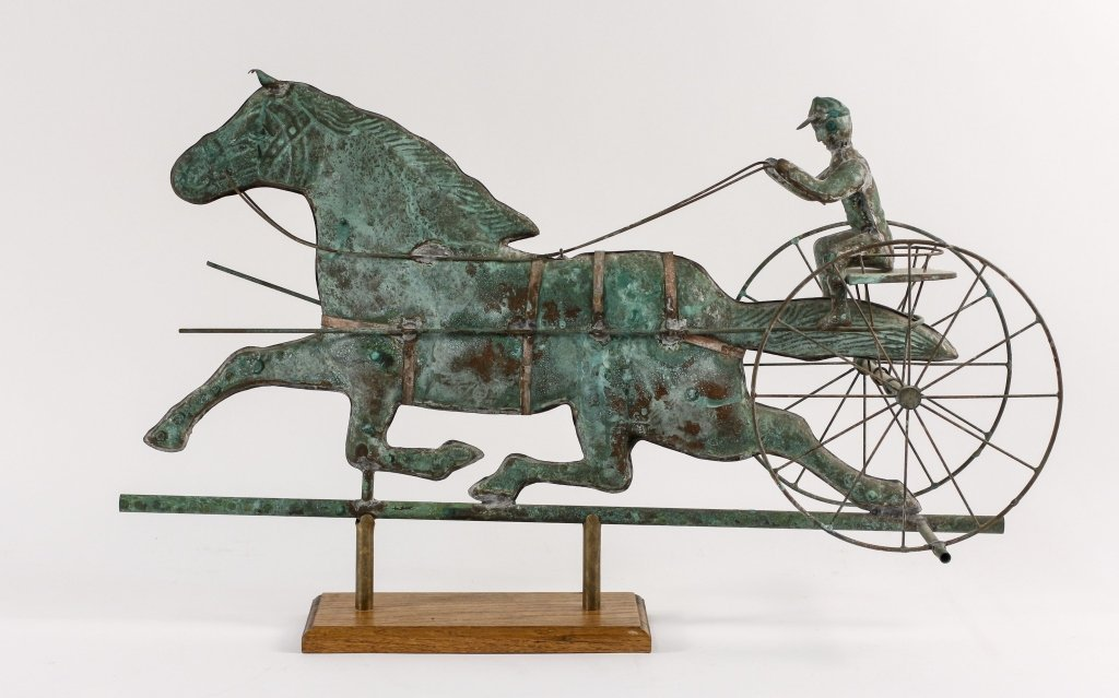 Copper Horse & Rider Weathervane on Wooden Base