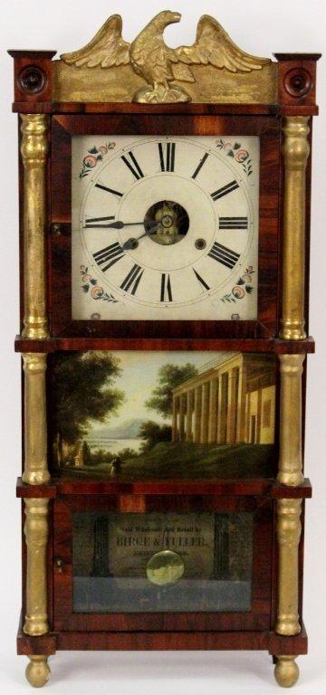 American Empire Mahogany & Gilt Wall Clock