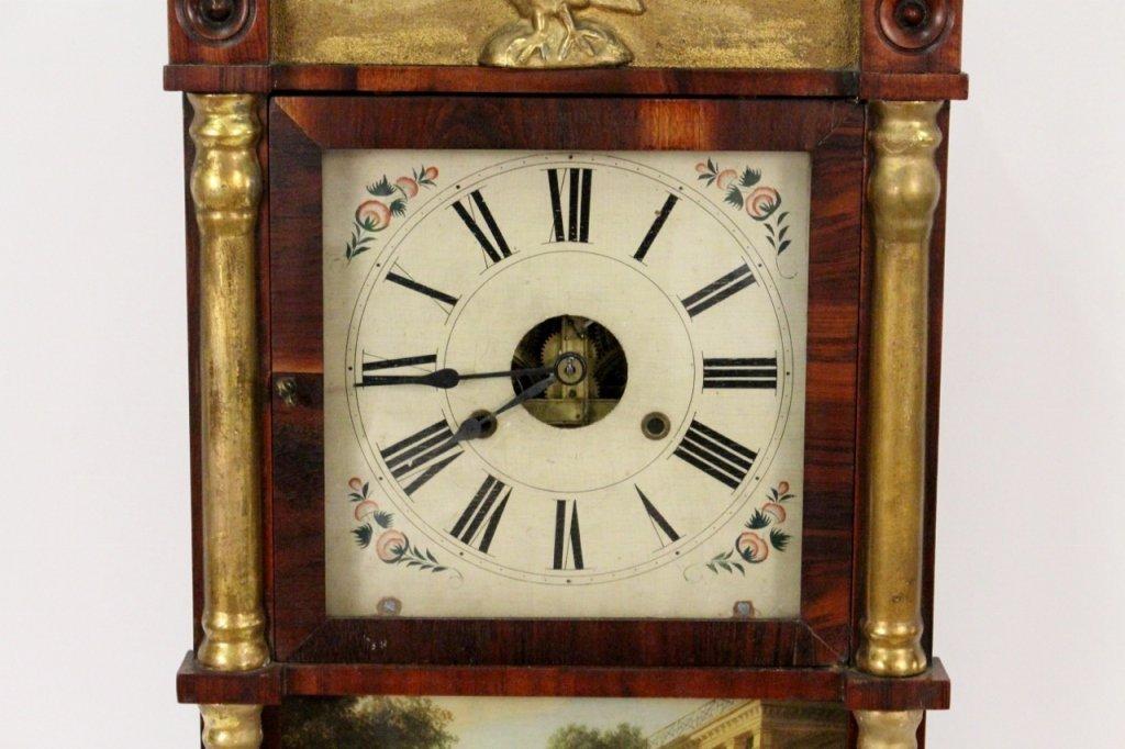 American Empire Mahogany & Gilt Wall Clock - 4