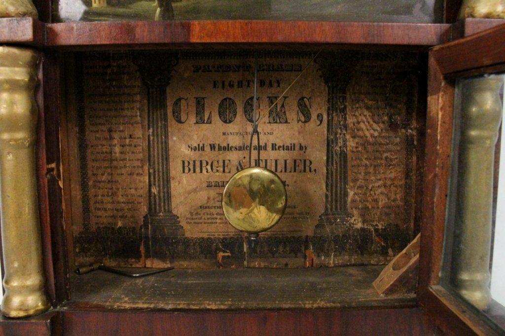 American Empire Mahogany & Gilt Wall Clock - 6