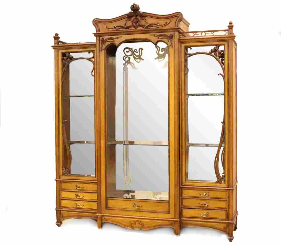 Large Art Nouveau Carved Walnut Cabinet
