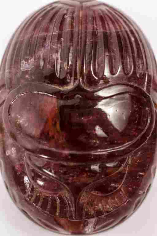 Hand Carved Rubellite Scarab
