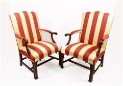 Pair of Southwood Chippendale Style Open Armchairs