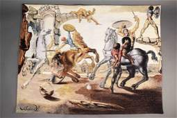 "Salvador Dali ""Battle Around A Dandelion"" Tapestry"