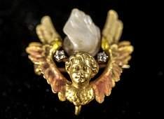 Antique 14K Gold Diamond  Pearl Angel Brooch