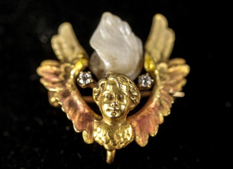 Antique 14K Gold, Diamond, & Pearl Angel Brooch