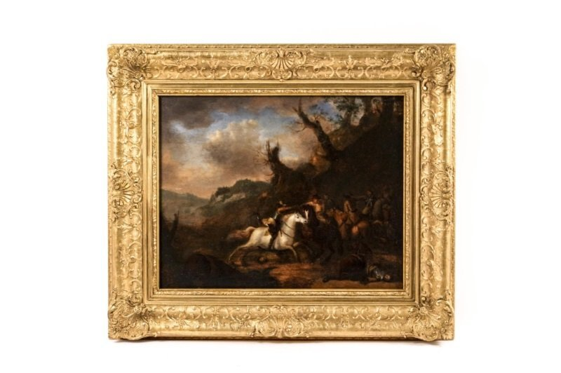 Old Master Battle Scene Oil, Attr. to Wouwermans