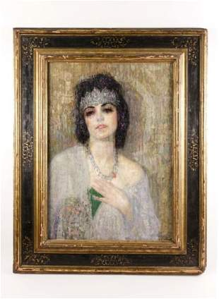 "Hovsep Pushman, ""Sacred Lotus of the Nile"", Oil on Wood"