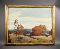 1940 Oil on Canvas Autumn Landscape Signed