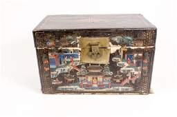 Black Lacquered Chinoiserie Decorated Box