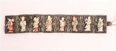 Chinese Silver Filigree & Carved Bone Bracelet