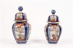 Two Early Japanese Imari Lidded Temple Jars