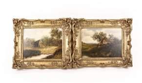 Pair of 19th C. English Cottage Scenes, O/B