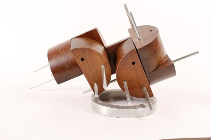 Wood & Metal Abstract Sculpture by Peter Risser - 3