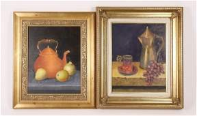 Group of Two Still Life Paintings, Oil on Canvas
