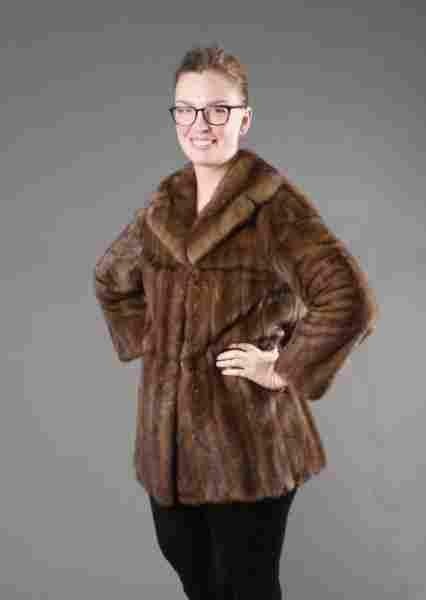 Short Light Brown Mink Women's Coat