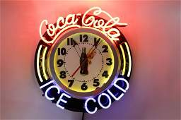 Coca Cola Neon Advertising Clock Sign