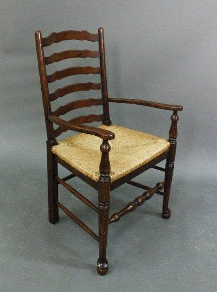 Stained Oak Ladderback Armchair w/Rush Seat