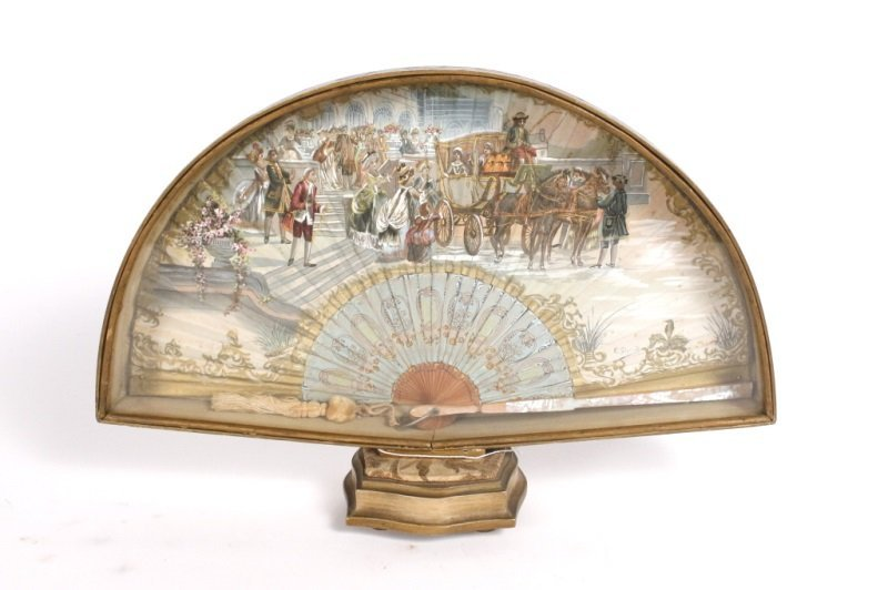 Emile Gallois, French Hand Painted Ladies Fan