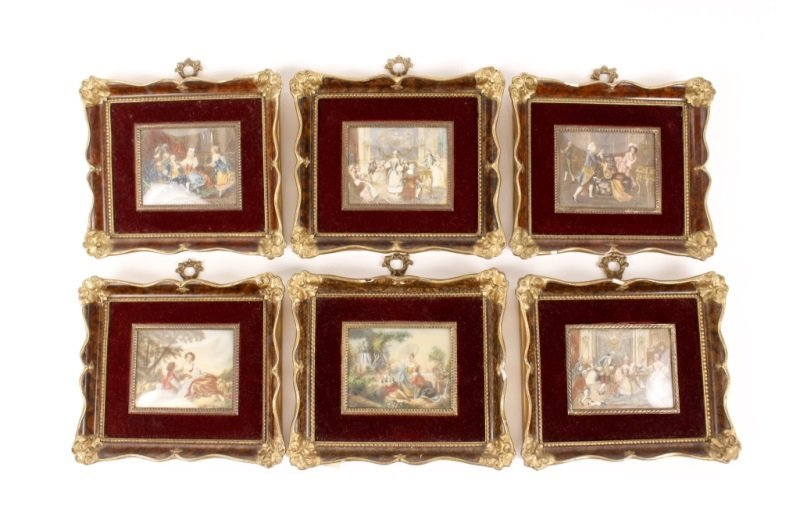 Set of 6 Framed Rococo Style Figural Paintings